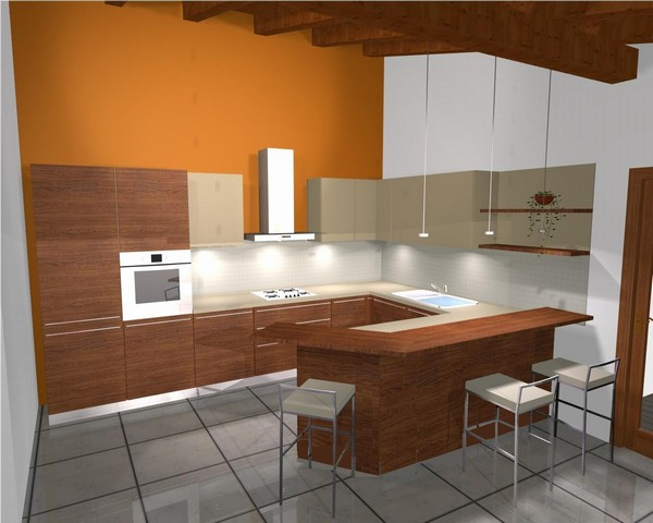 Beautiful banco snack cucina contemporary home interior - Cucina con bancone snack ...